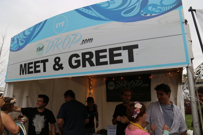 Fans meet with Papadosio during the artist meet and greet at Imagine Music Festival in Atlanta, Georgia.