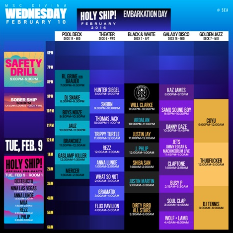 HOLY SHIP! Wednesday Feb 10th Schedule