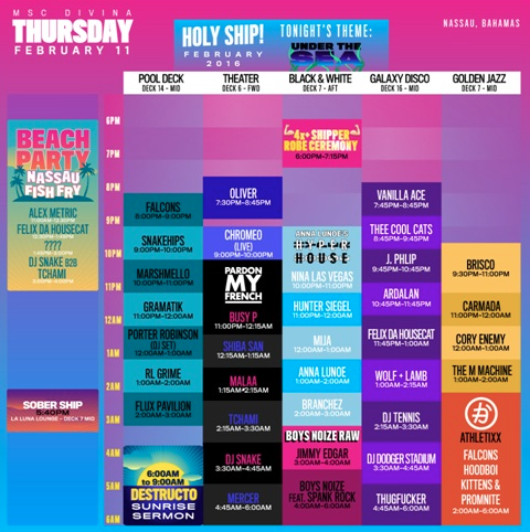 HOLY SHIP! Thursday Feb 11th Schedule