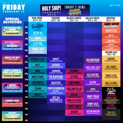 HOLY SHIP! Friday Feb 12th Schedule