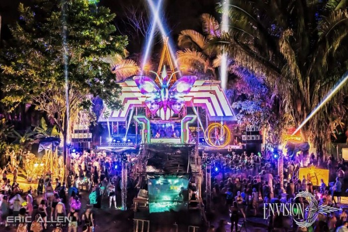 3D projection mapping illuminates the main stage. Photo by Eric Allen via Envision Festival.
