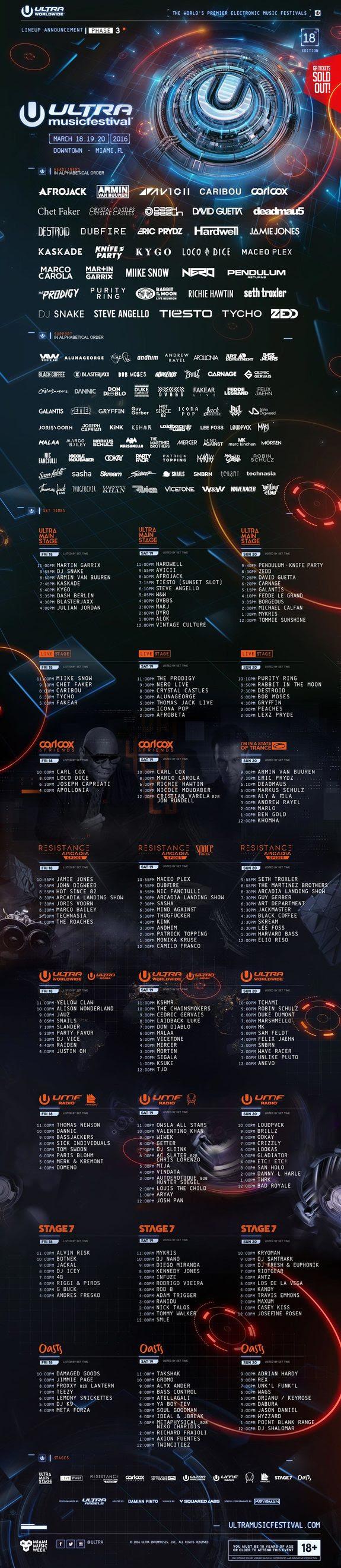 Ultra Music Festival 2016 Lineup