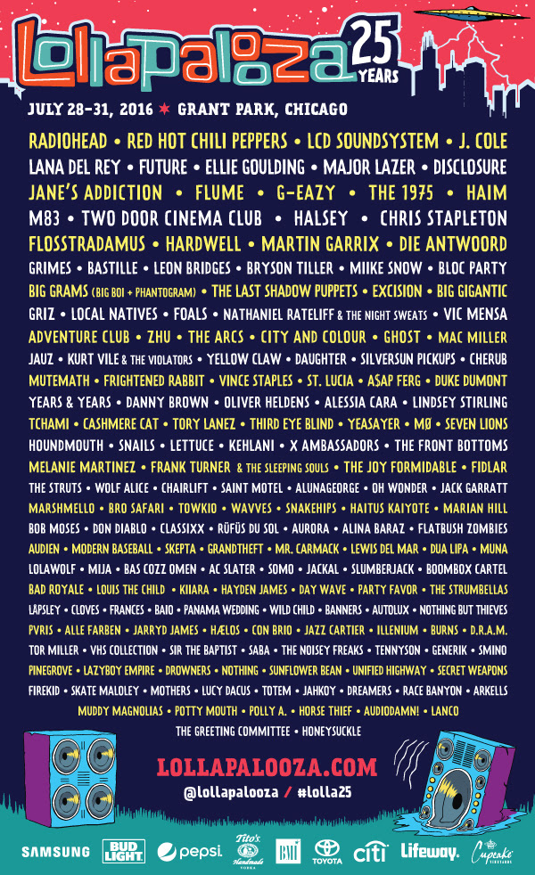 25th Edition of Lollapalooza Lineup