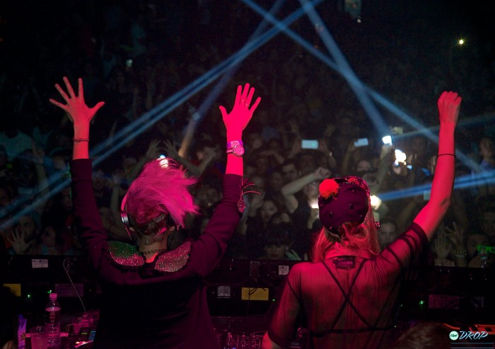 Nervo puts their hands up while playing at Avalon Hollywood