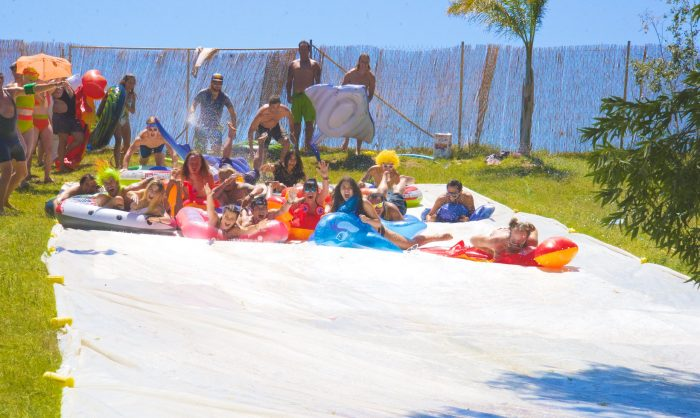 The Slip N Slide kept the partiers cool @ Woogie