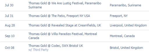 Thomas Gold Tour Dates