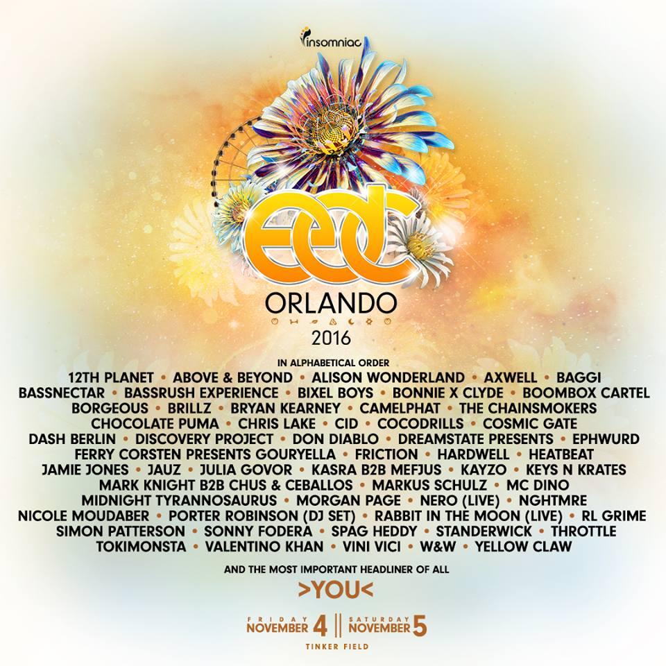 EDC Orlando Lineup 2016