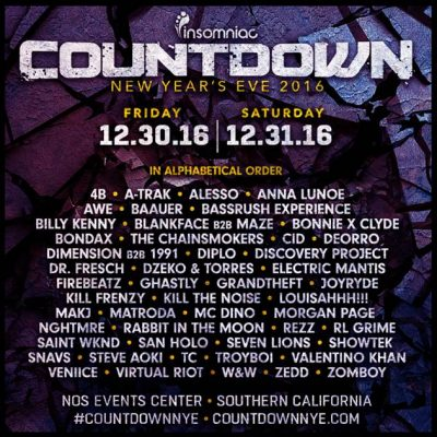 Insomniac Countdown NYE Lineup