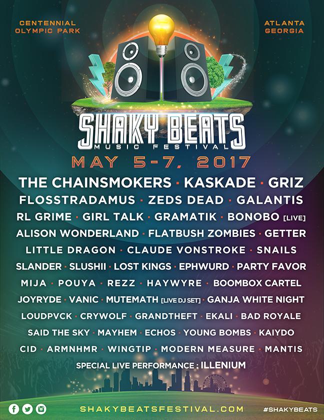Shaky Beats, Lineup. EDM, Thatdrop, Kaskade, Chainsmors, Griz, Atlanta, Centennial Olympic Park