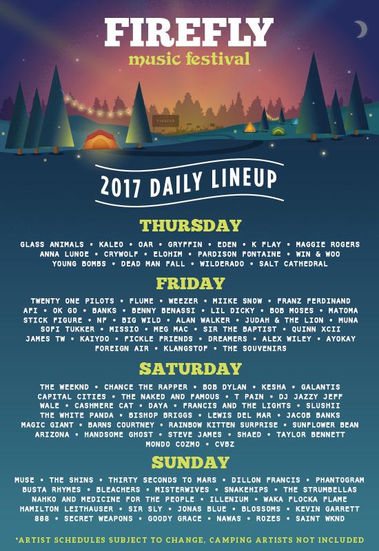 Firefly Music Festival 2017 Lineup