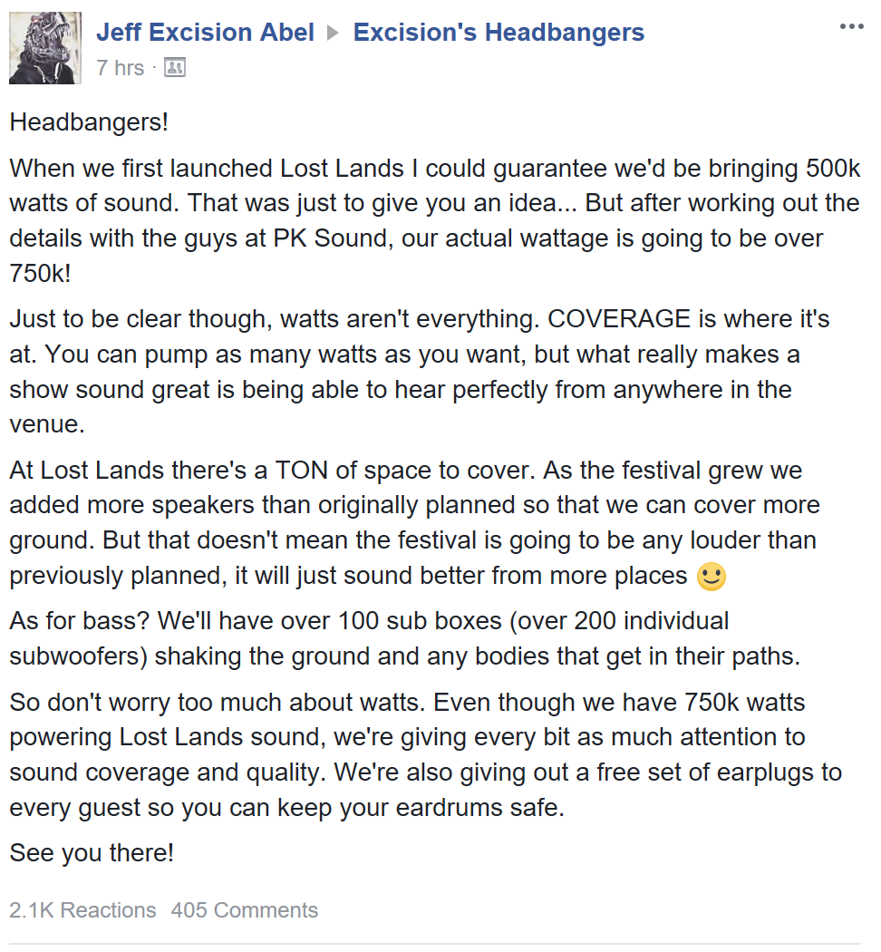 Excision FB post