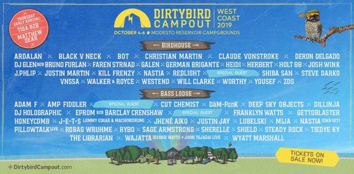 The Birds on the Bill for Dirtybird Campout West Coast 2019